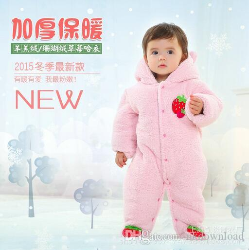 fa79f62fa5a7 Longsleeve Strawberry Romper With Tail Cute Winter Warm Infant Baby ...