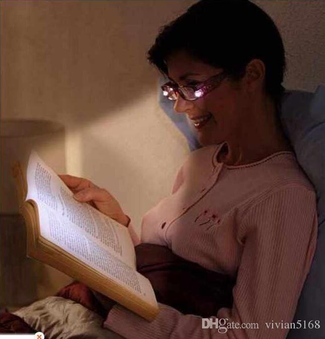 Mode LED Lunettes De Lecture Nuit Lecteur Eye Light Up Lunettes De Vue Spectacle Diopter Loupe Presbytie vision nocturne lunettes Livraison Gratuite