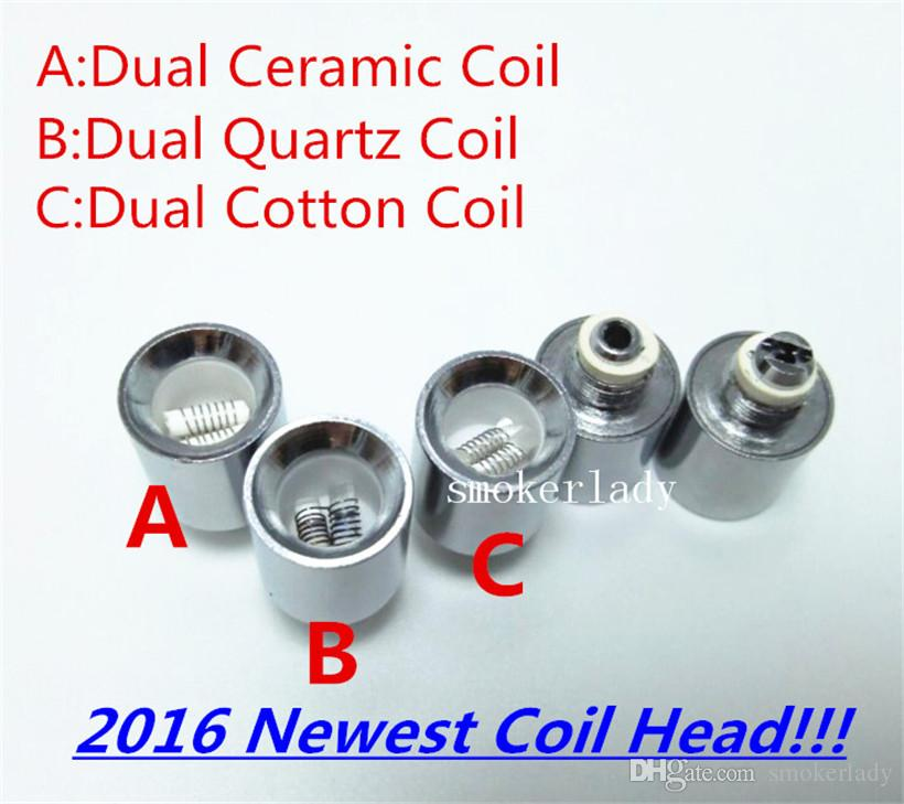 Vase coil Dual ceramic wax dry herb coil quartz Coil for cannon vase bowling glass globe atomizer wax dry herb Vhit Atomizer Ecigs
