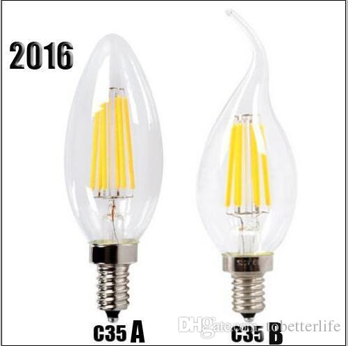 Filament Bougies LED lampe 2W 4W E14 E27 B22 ampoules LED haute luminosité 120lm / W blanc chaud Lampe Led AC220v