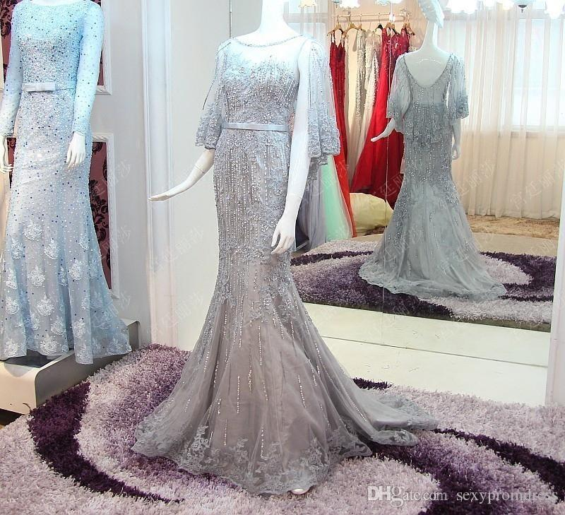 2017 Sparkly Bride Luxury Evening Dresses Crystal Beading Long Sexy Backless Grey Lace Fishtail Sweep Train Mermaid Prom Dresses