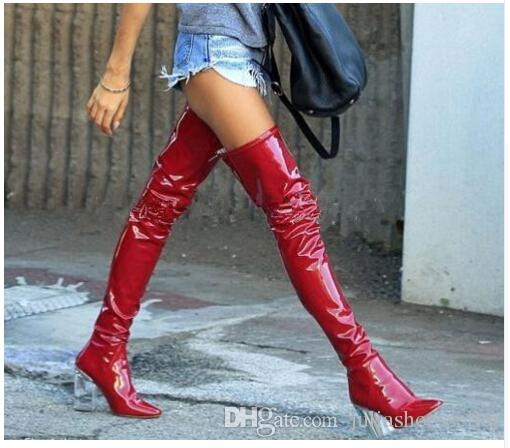 9cbac144181 Spring Autumn Clear-Heel Calfskin Patent Booties Plexi-Heel Over The Knee  Black Latex Thigh High Boots Fashion Women's 9cm heels