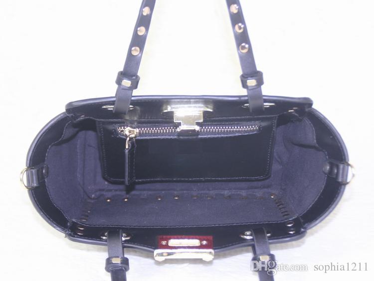 Sacchetto di spalla della borsa della borsa delle donne del cuoio genuino all'ingrosso della fabbrica Ribattini dorati Sacchetti di San Valentino colori rosa neri rossi Piccoli mini sacchetti
