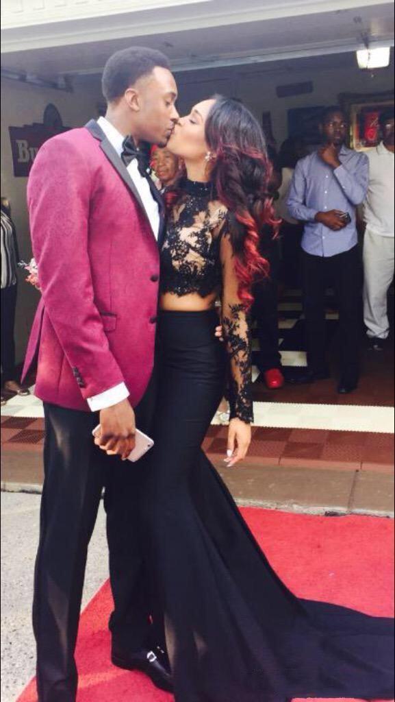 Couples Fashion Prom Dresses Two Pieces 2016 Black Lace