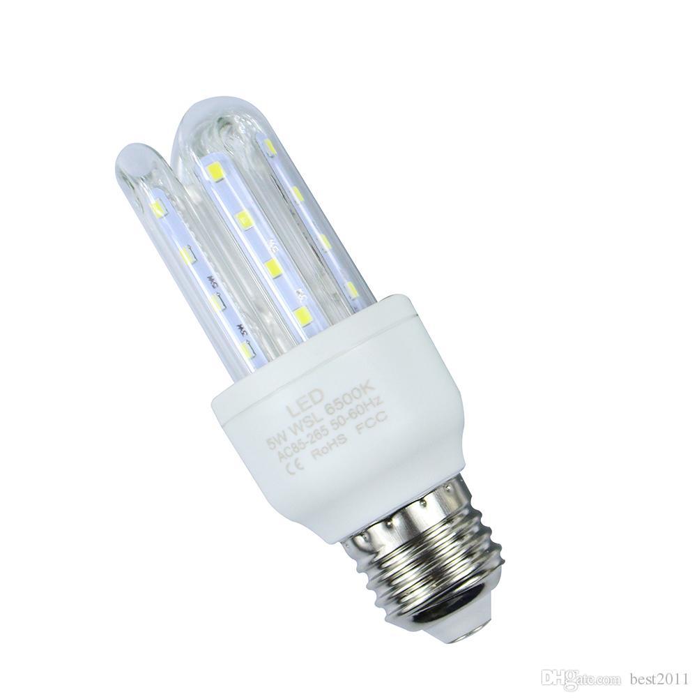 E27 5W 2835 SMD blanc / blanc chaud LED ampoules de maïs en forme de lampe U économie d'énergie pour l'éclairage intérieur