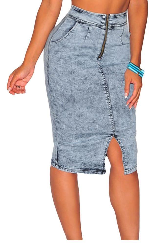 2017 Light Blue Denim Skirt High Waist Midi Skirts Womens Jean ...