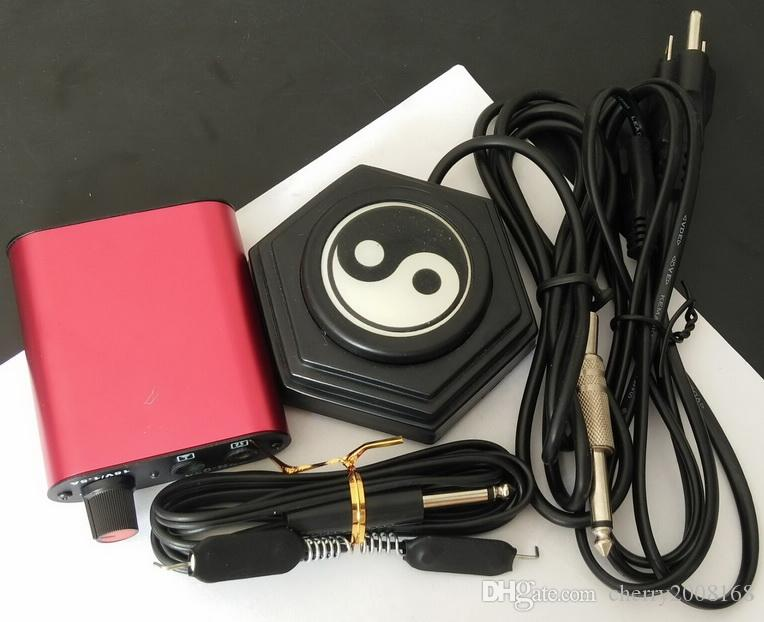 Pro Round Black Star/Yinyang Tattoo Foot Pedal Switch +Tattoo Power Supply+Tattoo Clip Cord For Tattoo power supply set Kit
