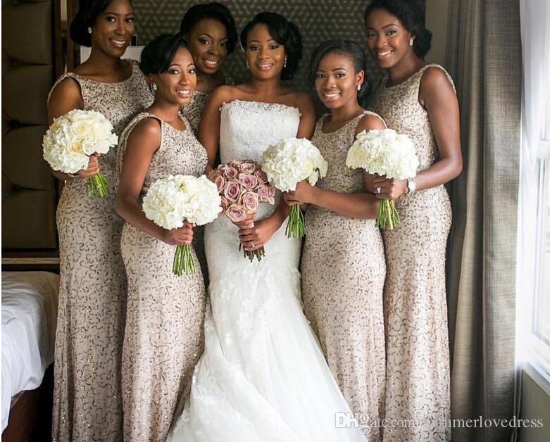 2017 Новый Южная Африка Блестки Оболочка Длинные Платья Невесты Рукавов Сверкающие Длина Пола Свадебные Вечерние Платья