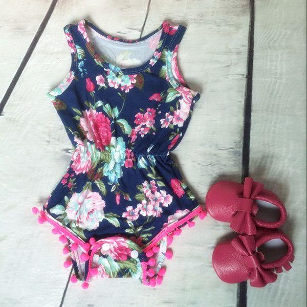 Baby-Kleidung, Baby Mädchen Floral Bubble Strampler, Petti Strampler, Baby Geburtstag Outfit, Pom Baby Kleinkind Strampler