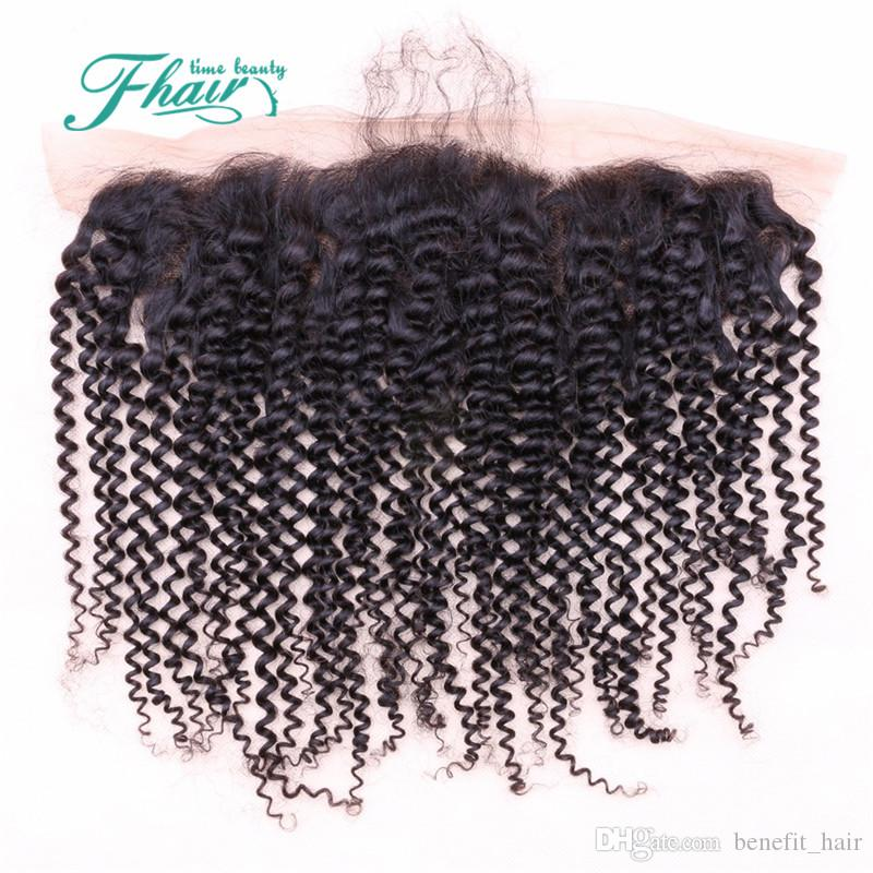 DHL Mongolian Kinky Curly Full Lace Frontal Closure 13X4 7A Grade Bleached Knots Human Hair Ear to Ear With Baby Hair