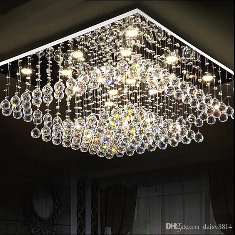 modern square crystal chandeliers led light lustre living room lighting ac110 240v ceiling. Black Bedroom Furniture Sets. Home Design Ideas