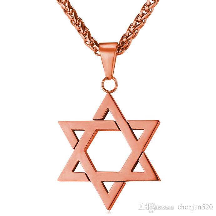 David yıldızı Magen Kolye Kolye Yahudi Takı Kadın Erkek Zincir 18 K Altın / Siyah Gun Kaplama Paslanmaz Çelik İsrail Kolye Hediyeler
