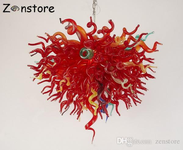 Fantastique 100% Bouche En Verre Soufflé Art Decor Lustres 32 pouces Rouge Couleur LED Lustre et Pendentif Lampes