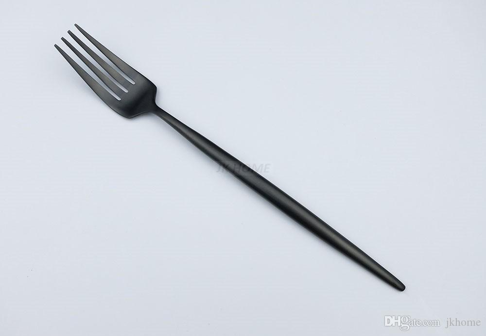 JK 홈 / 18/10 유럽 블랙 스테인레스 스틸 Flatware 세트 럭셔리 매트 스푼 포크 나이프 칼 세트 6 식기 식기
