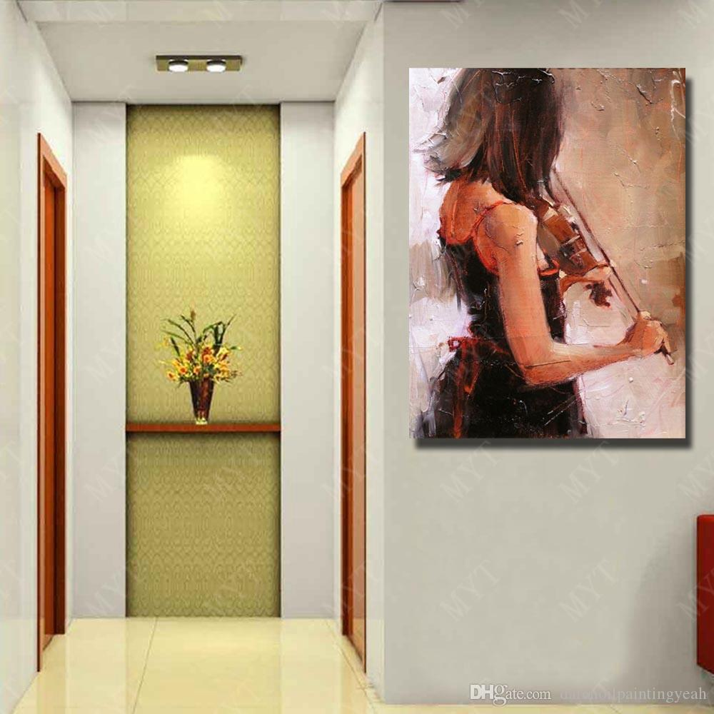Beautiful Girl Play Violin Oil Painting Modern Home Decor Hand Painted Pictures on Canvas Figure Wall Art No Framed