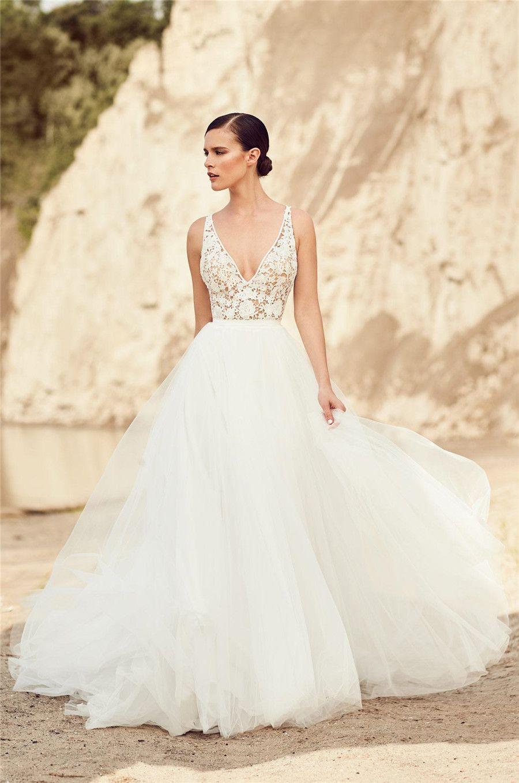 Gelinlikler Backless Sahil Gelinlik vestidos de novia sayesinde Spagetti A-line Tül Gelin Elbiseler Seksi Vintage bakın