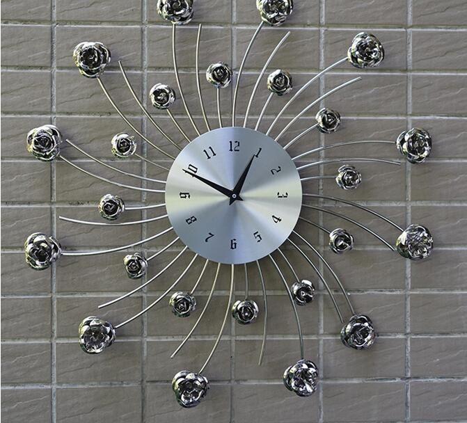 Gracefuleuropean Style Living Room Wall Clock Bedroom Creative Personality Mute Modern Bar Largest Watch Store Metal Art Quartz Clocks