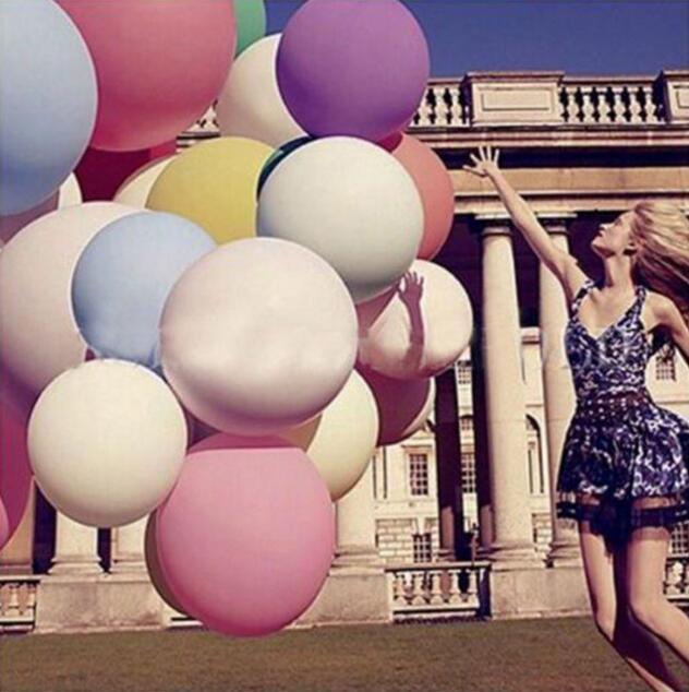 36 İnç Süper Büyük Büyük Düğün Dekorasyon doğum günü partisi Ballons Kıvam Çok renkli Lateks Dev Huge Balon Mini Sipariş