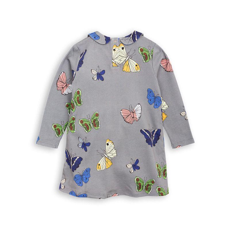 INS NEW горячая распродажа девушка высокого качества хлопка платье с длинным рукавом бабочка печать платье осень зима девушка платье элегантный простой стиль