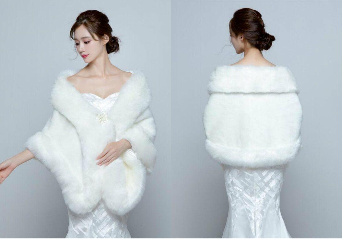 Fur Shawl Wedding Cape 2017 New Faux Fur Bridal Cape White Shrug ...