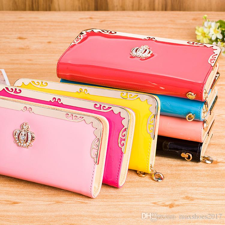 2017 Women PU Leather Wallet Korean Version Autumn Fashion New Crown Print Ladies Zipper Multifunctional Long Clutch Bags
