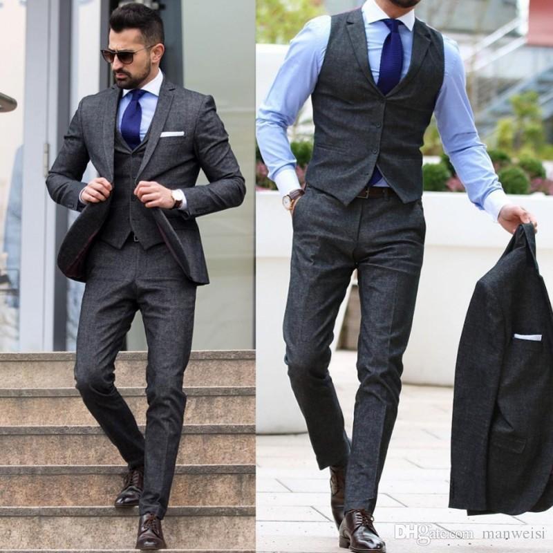 Acquista 2019 Uomini Economici Suit Smoking Dello Sposo