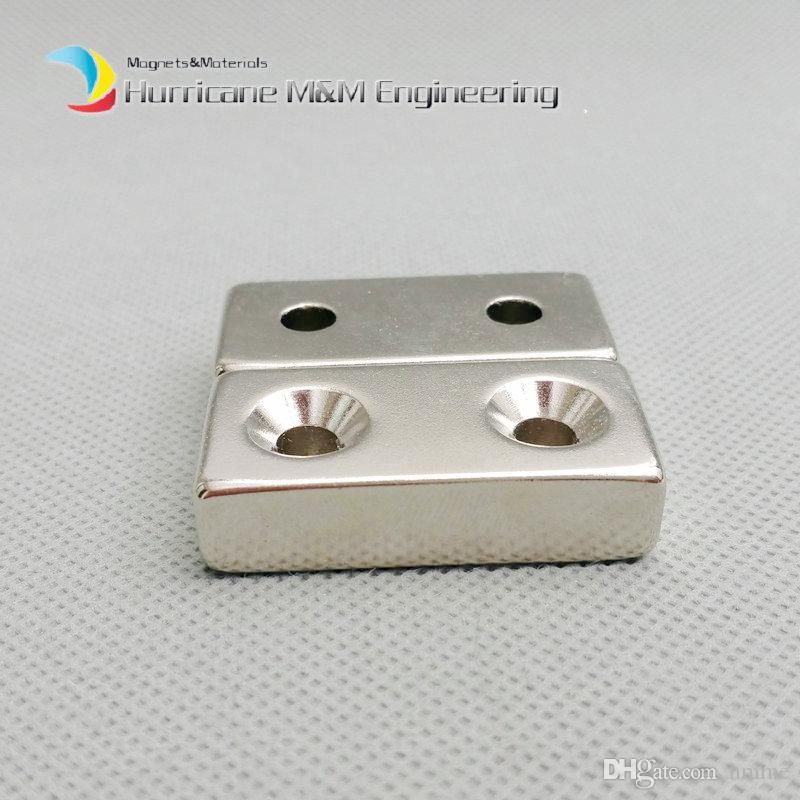 NdFeB Fix Magnet 40x20x10mm with 2 M5 Screw Countersunk Holes Block N42 Neodymium Rare Earth Permanent Magnet