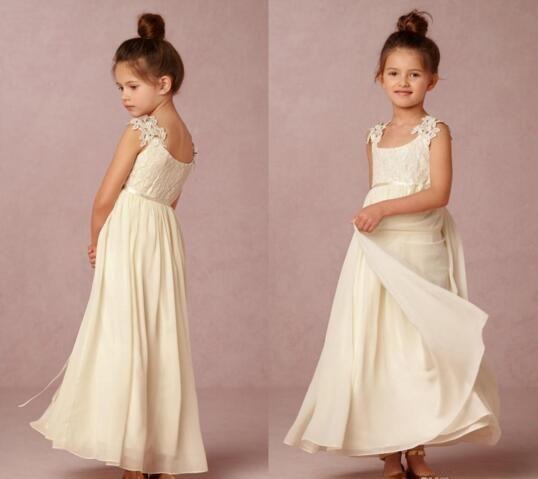2016 Cute Lovely Ivory Flower Girl Dresses Square Neck Little Girl