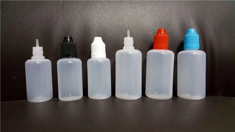 E bouteilles liquides 5ml 10 ml 15 ml 20 ml 30 ml 50 ml de type PE de style en plastique vide Aiguille en plastique E-liquide avec bouchons pour enfants pour l'huile de vape