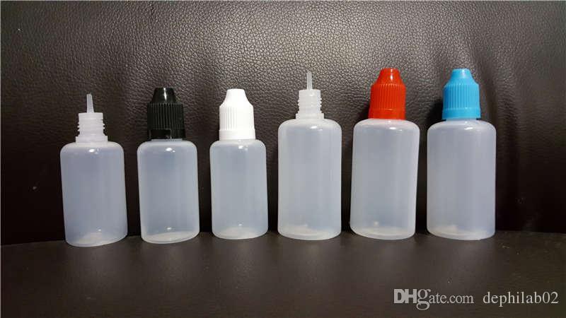 E Çiğ Sıvı Şişeler 5 ML 10 ML 15 ML 20 ML 30 ML 50 ML Boş Damlalık LDPE Plastik Çocuk Geçirmez Kapaklar Vape Yağı için Uzun İnce İğne İpuçları