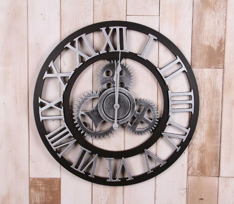 Industrial Gear Mural Decoration Rome Wind Watch Stereo Clock Retro