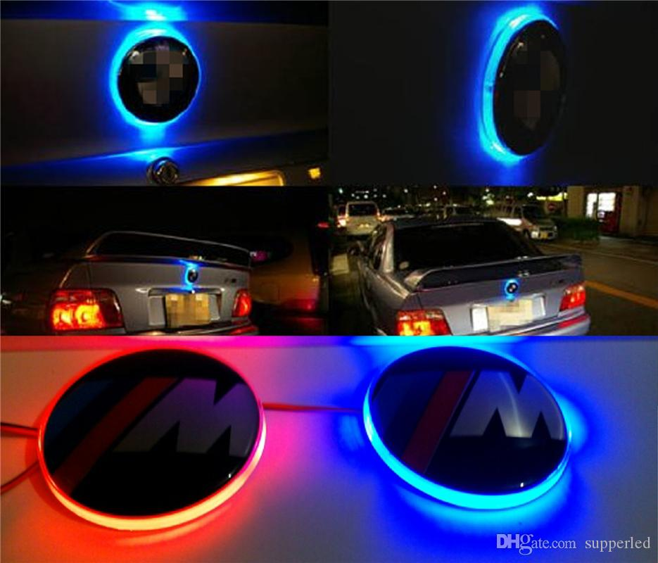 LED Car Decal Sticker Logo Badge Emblem Light Lamp 12V For BMW 3 5 7 Series Red White Blue Color