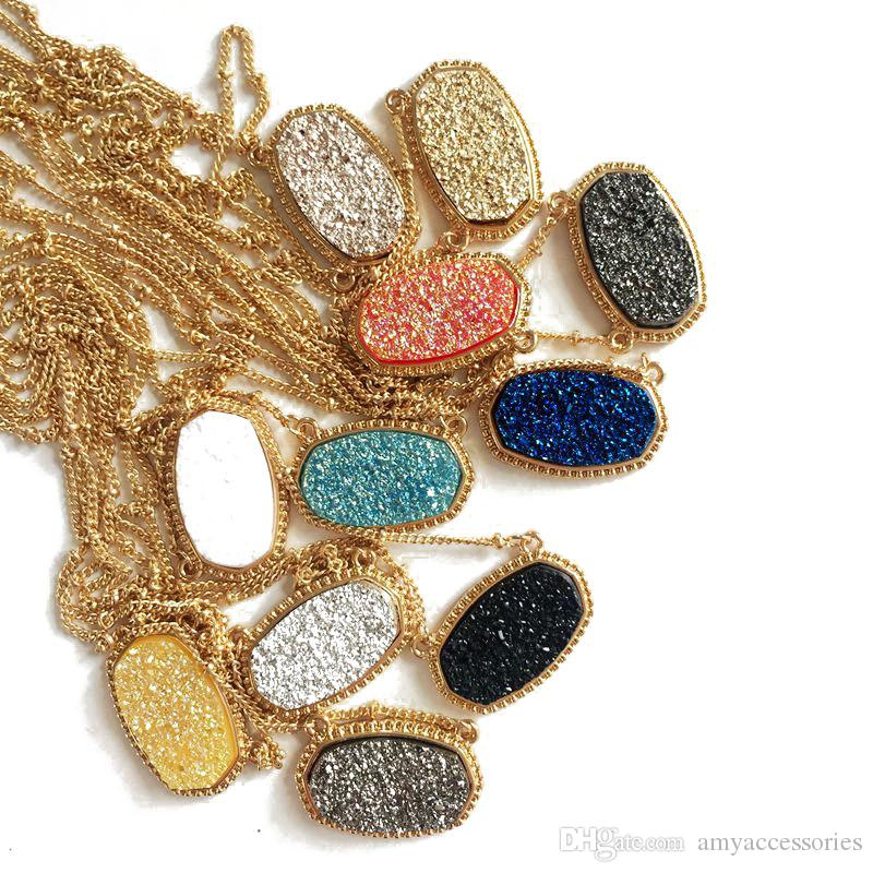 11 ألوان الذهب مطلي لطيف فو الكوارتز البيضاوي قلادة هندسية الراتنج druzy المختنق قلادة مجوهرات للنساء