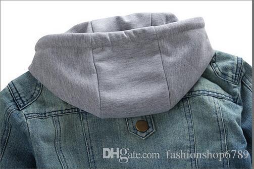 Moda Uomo Giacche di jeans manica lunga con cappello rimovibile lavato Vintage uomo Jean cappotti con cappuccio Cappotti da uomo