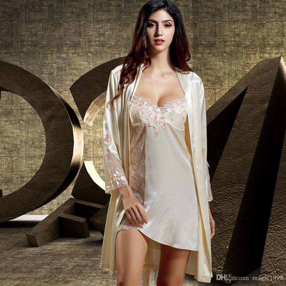 6b14cfb8b6b 2017 Summer Two-Piece Women Bathrobe Full Sleeve V-Neck Robe Sets ...