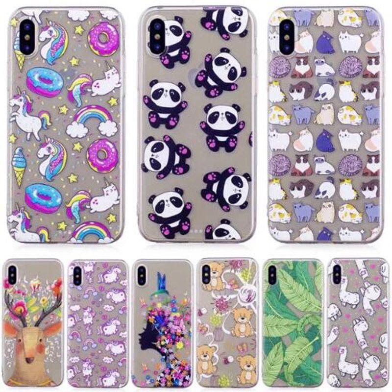New Cat Bear Panda Cake Flower Girl Horse Soft Tpu Case For Iphone X