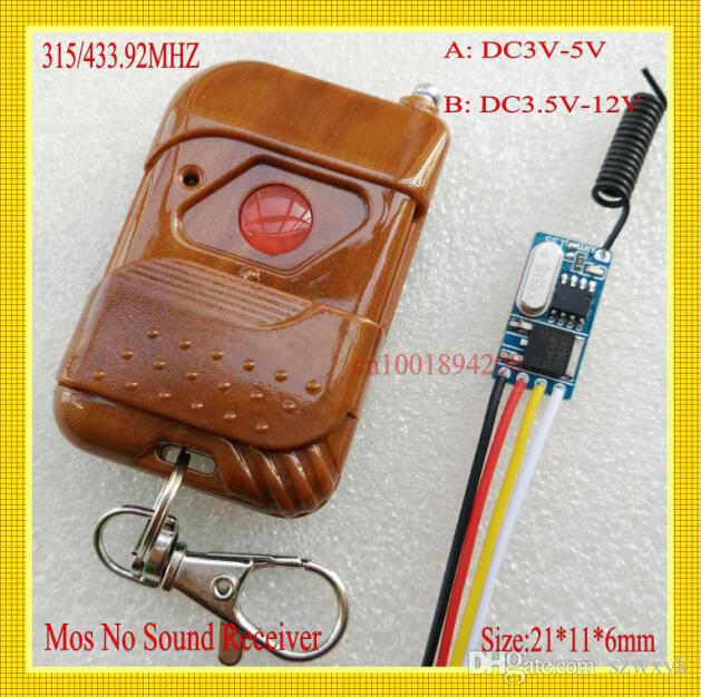Mini Wireless Remote Control Switch DC3.5V-DC12V Remote Switches 3.6V 3.7V 4.5V 5V 6V 7.4V 9V 12V 1A Load Thin Small Remote Control System
