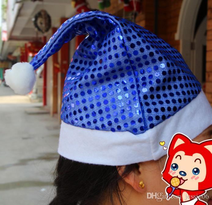 파티 모자 Christmas Sequin Sheen 산타 모자 어린이 남성 여성 축제 의상 모자 멋진 드레스 소품 이벤트 액세서리 용품