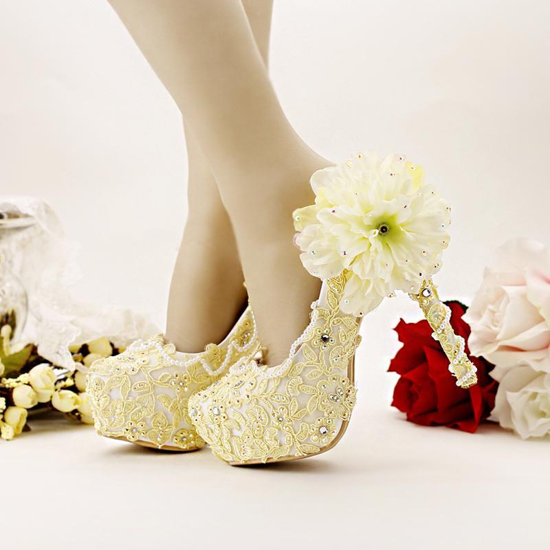 Pure gele bruid schoenen hoge hakken platform jurk schoenen kant bloem strass bruiloft schoenen bruids pompen stiletto hoge hak
