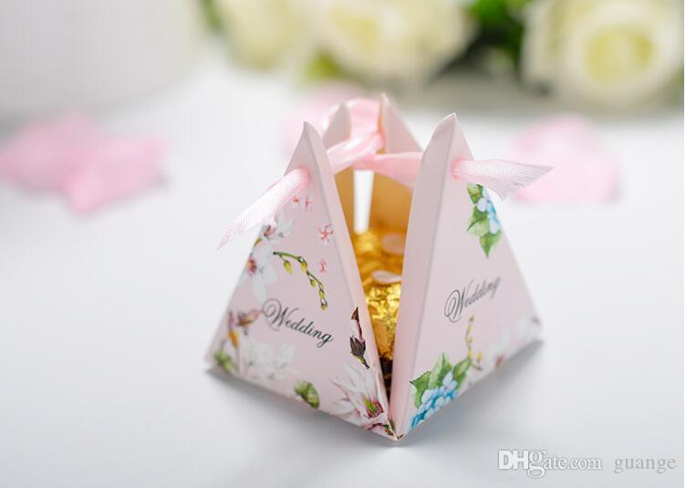 European style pink purple blue Pearl paper triangle pyramid Wedding box Candy Box gift boxs wedding favour boxes THZ187