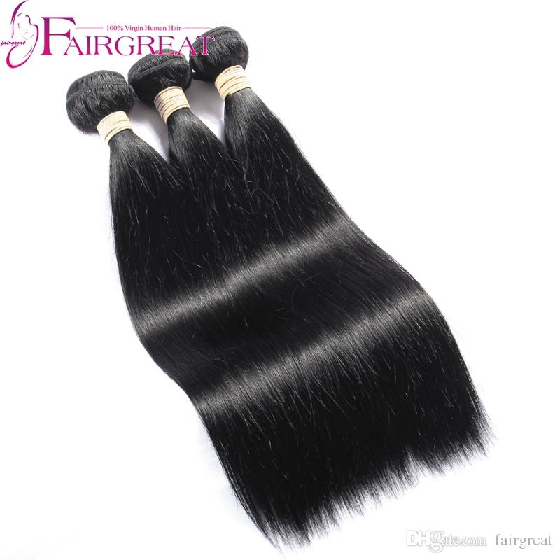 Cheap Human Hair Weave With Lace Frontal 13*4 Unprocessed Brazilian Straight Virgin Hair Wefts Ear To Ear Lace Frontal Closure Fast Shipping