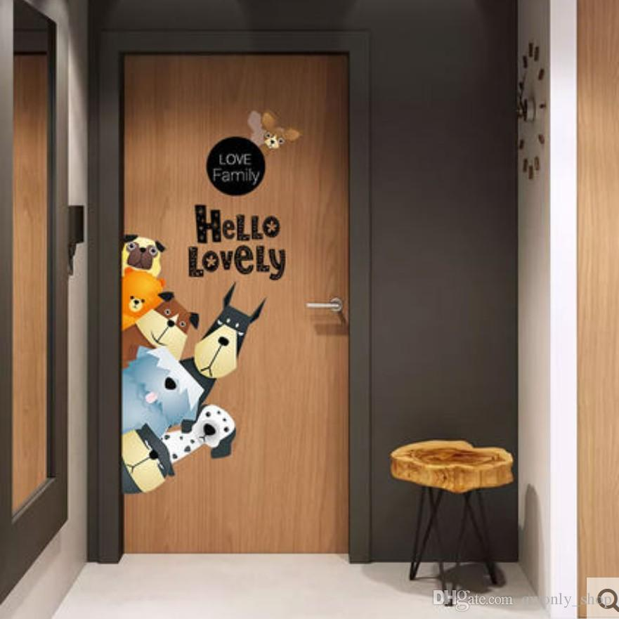 10 Styles Cartoon Animals Door Sticker For Baby Kids Room Children ...
