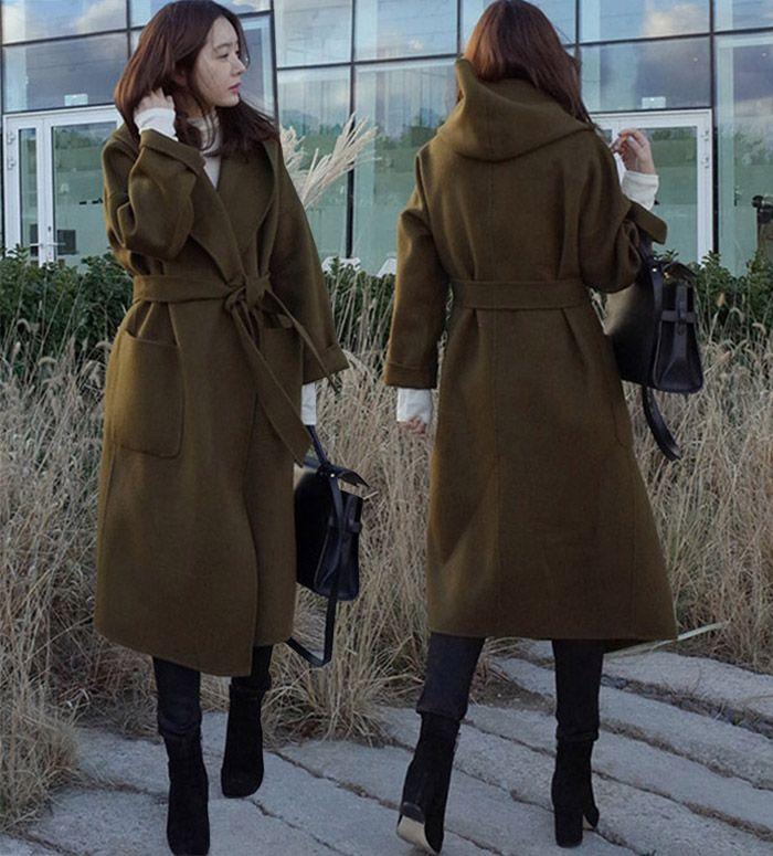 5b8d94f268967 Acquista New Fashion Coreano Plus Size Donna Cappotto Di Lana Con Cappuccio  Verde Militare Cardigan Cappotto Di Lana Cappotto Lungo Misto Lana Sciolto  ...
