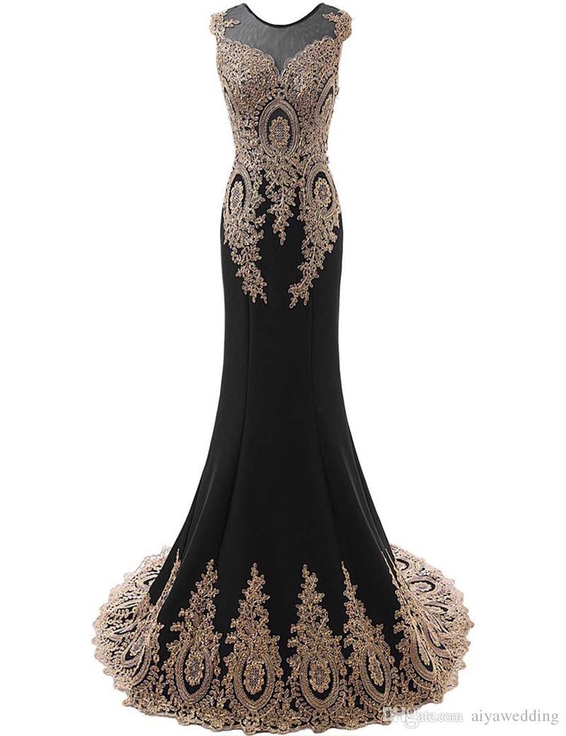 2019 Robes De Soirée Sheer Jewel Neck Illusion Retour avec Cristal Sirène Strass Robes De Bal Livraison Gratuite Robes Personnalisées