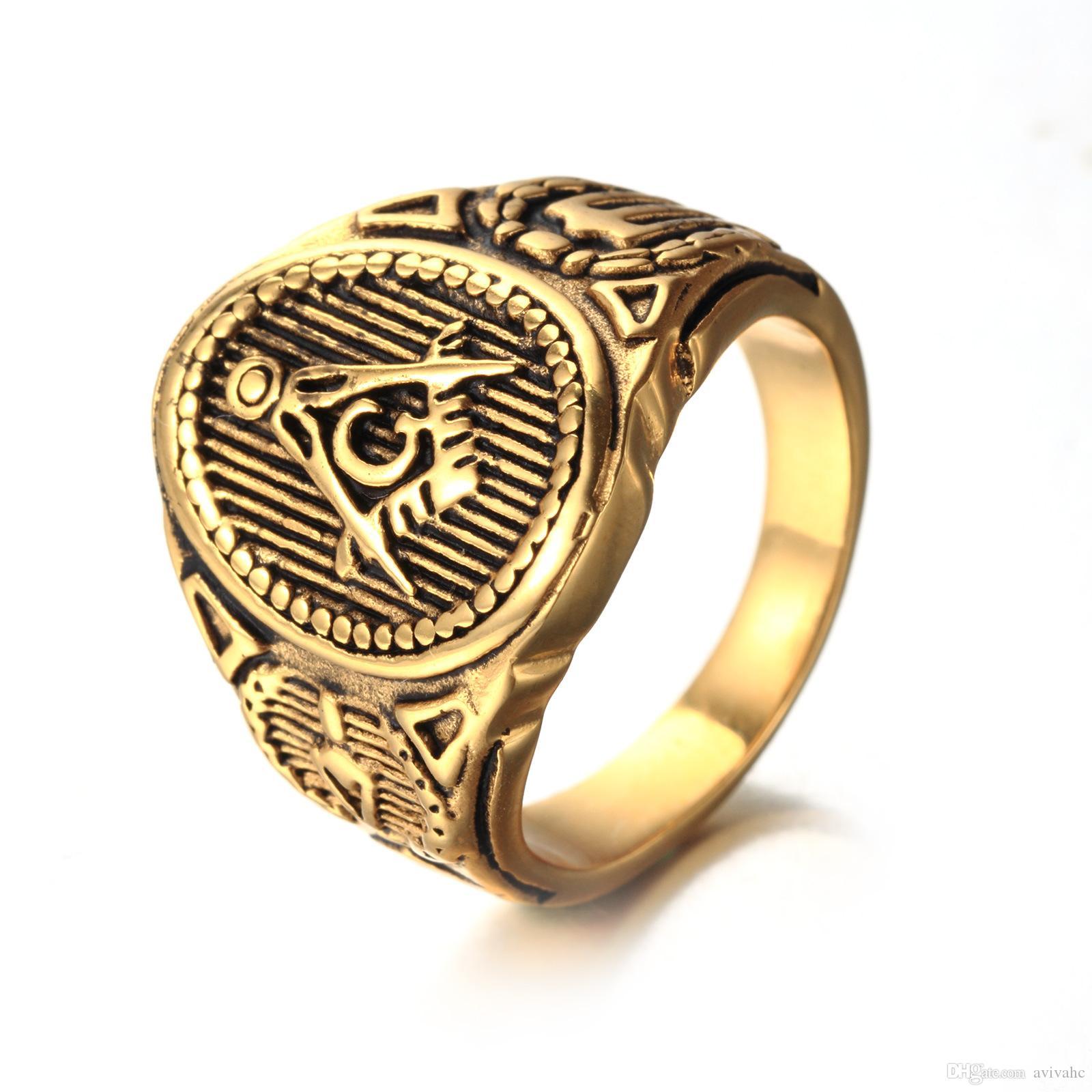 Best Quality Mens Masonic Freemason Ring Symbol Member Golddark
