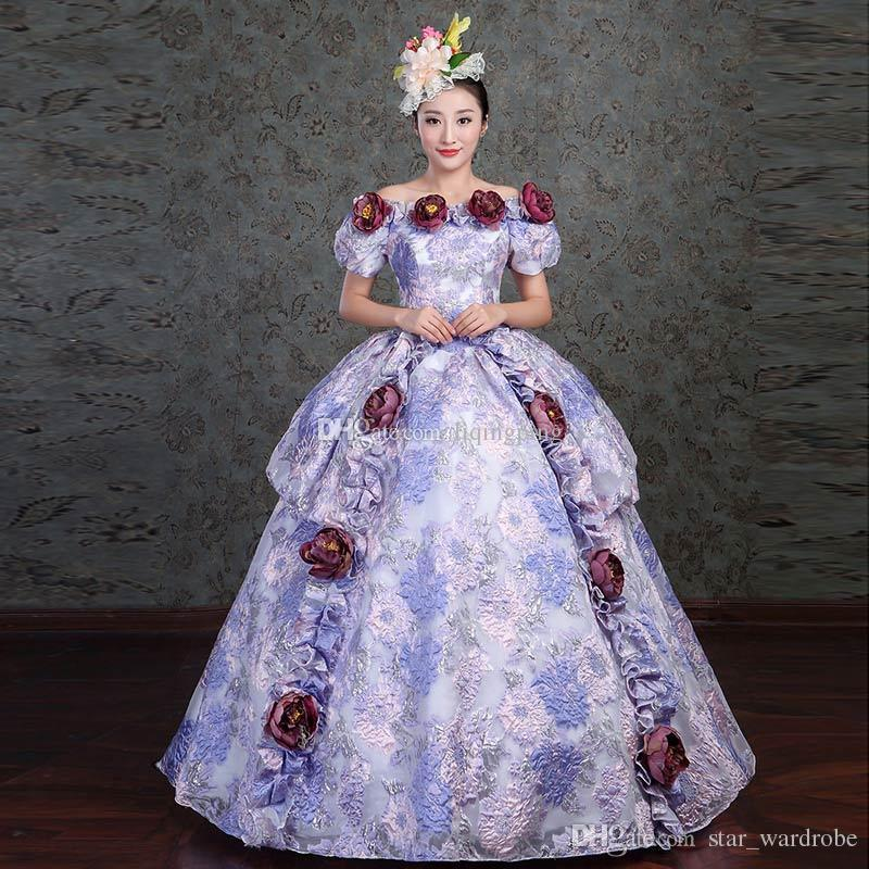 Discount Floral Fantasy Gown Movie Gown Marie Antoinette Women Dress ...
