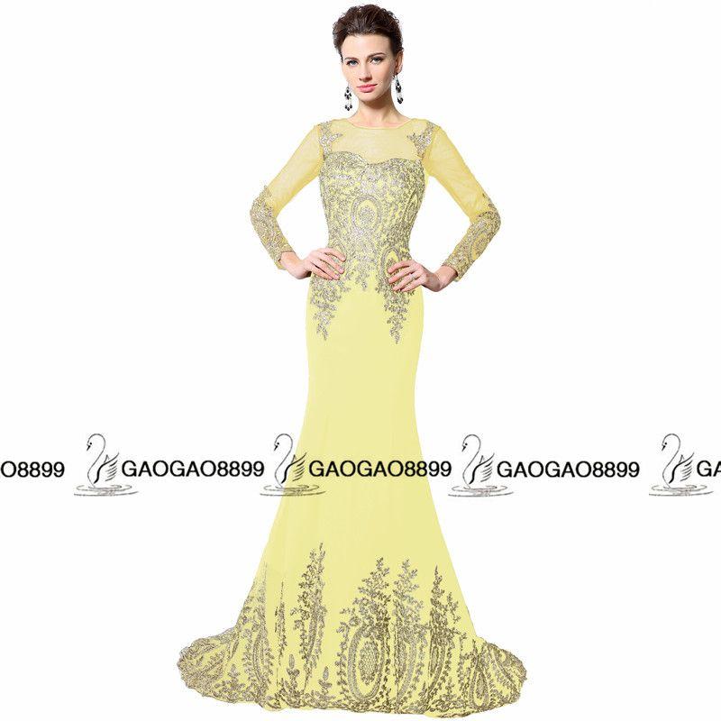 2019 Nuevo diseño Real Photo Gold bordado sirena de manga larga vestidos de baile Sheer Neck Dubai árabe trompeta noche barata vestido de fiesta formal