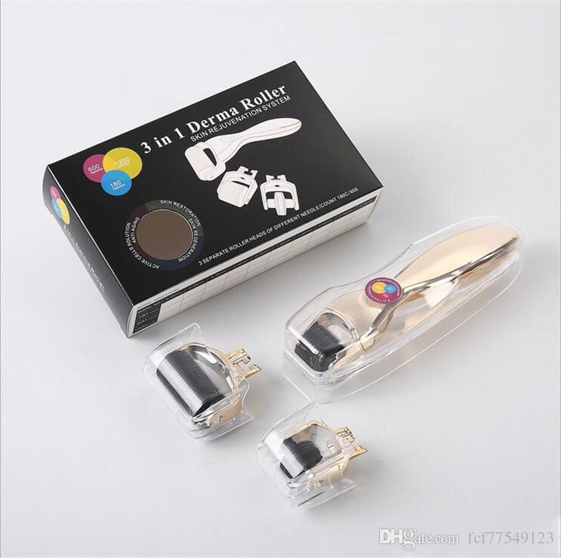 TM-DR005 MOQ 1 PILE 3-IN-1 Kit Derma Rullo corpo e viso e oculare Micro Rullo di ago 180 600 1200 Aghi Dermaroller pelle