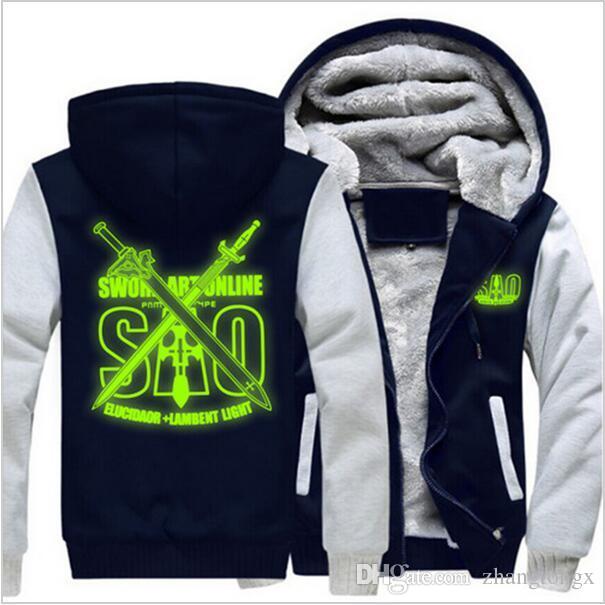 New!Sword Art Online SAO Luminou Coat Zipper Hoodie Winter Fleece Unisex Thicken Jacket Sweatshirts Costume drive warm Sportswear,USA size