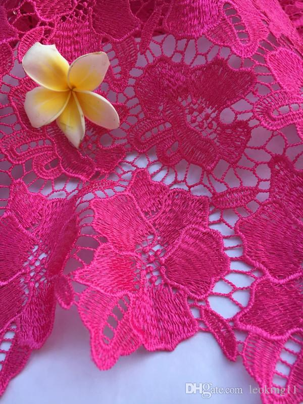 Gorgeous fuchsia embroidery water soluble guipure lace with flower pattern african cord lace fabric for party dress QW17-4